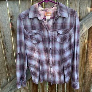 Mudd plaid long sleeve shirt pocket junior XL